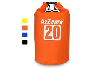 (10L, Orange) - A2ZCARE Waterproof Dry Bag 10L, 20L with Shoulder Strap Included | Keeps Gear Dry for Kayaking, Beach, Rafting, Boating, Hiking, Camping and Fishing