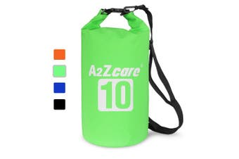 (10L, Green) - A2ZCARE Waterproof Dry Bag 10L, 20L with Shoulder Strap Included | Keeps Gear Dry for Kayaking, Beach, Rafting, Boating, Hiking, Camping and Fishing