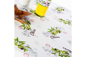 (Rectangular 150cm  x 260cm , Olives) - Turkish Non-iron Stain Resistant French Olives Table Cloth – Fashionable Green Olive Branch Table Cover Home Dining room Olive Table Protection Indoor Outdoor (Ivory Olives, Rectangular 150cm x 260cm )