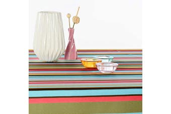 (Rectangular 150cm  x 300cm , Striped) - AHOLTA DESIGN Turkish Non-Iron Stain Resistant Warm Fall Stripe Table Cloth – Fashionable Mexican Stipes Home Dining Table Protection - Stylish Indoor Outdoor (Striped, Rectangular 150cm x 300cm )