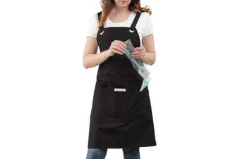 (100% Cotton - Soft Sturdy - Refined High Density, Black Cotton) - Professional Kitchen Apron for Chef, Artist, Grill, BBQ, Shop, Baking for Women and Men with Cross Back + Fasten/Quick Release Buckle + 6 Pockets + 2 Towel Loops, Adjustable M to XXL,