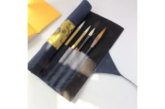 (Blue) - Writing Brushes Roll Up Bag Chinese Brush Pen Organiser Canvas Pouch (Blue)