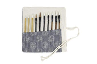 (Gray Tree) - Writing Brushes Roll Up Bag Chinese Brush Pen Organiser Canvas Pouch (Grey Tree)