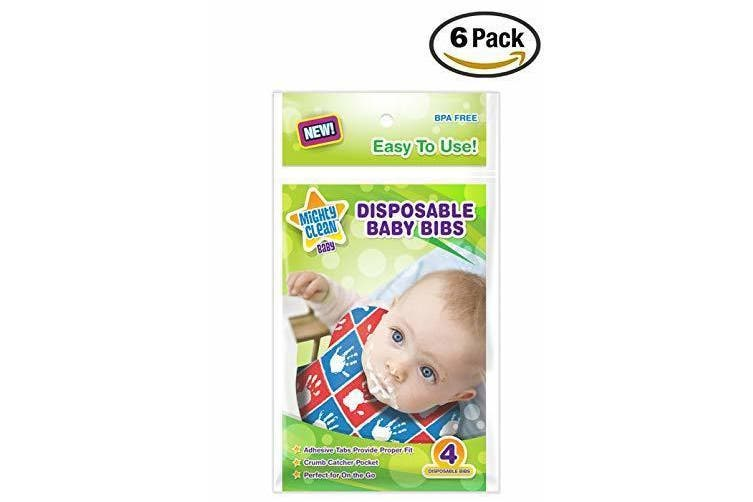 (24 bags) - .Mighty Clean Baby Disposable Baby Bibs 24 Count (4 Bibs per Package