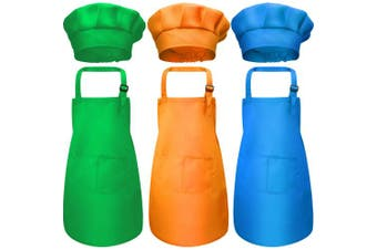(Small, Color 5) - Chengu 6 Pieces Kids Chef Hat Apron Set, Boys Girls Aprons for Kids Adjustable Cotton Aprons Kitchen Bib Aprons with 2 Pockets for Kitchen Cooking Baking Wear (Small, Colour 5)