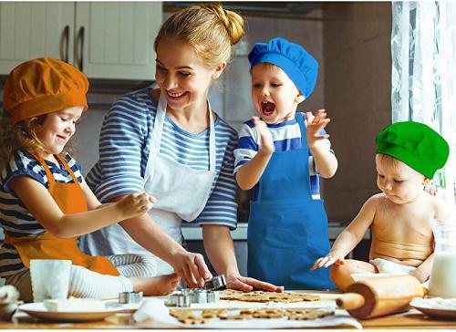 Boys Girls Aprons for Kids Adjustable Cotton Aprons Kitchen Bib Aprons with 2 Pockets for Kitchen Cooking Baking Wear Chengu 6 Pieces Kids Chef Hat Apron Set Small, Color 4