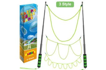 E-Know Bubble Wand,3 Style Giant Bubble Wand Stainless Steel Made,Telescopic Design Easy Carrying,Large Bubble Wandfor Bubble Party Favours Outdoor Toy for Kid