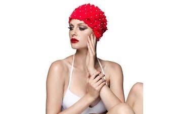 (RED) - BALNEAIRE Flowers Swim Cap Women Pearl Floral Swim Cap Hat Long Hair Swimming Caps