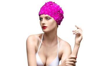 (PURPLE) - BALNEAIRE Flowers Swim Cap Women Pearl Floral Swim Cap Hat Long Hair Swimming Caps