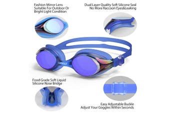 (3912-Blue Mirror Lens-12yrs+) - COPOZZ Kids Swimming Goggles, Child (Age 4-12) Waterproof Swim Goggles Clear Vision Anti Fog UV Protection No Leak Soft Silicone Frame for Kid Toddler Boys Girls