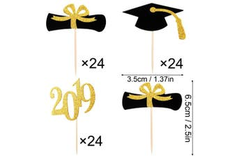 (144 Pieces, Gold and Black Style) - Chengu 144 Pieces Graduation Cupcake Toppers, 2019 Cap Graduation Picks for Mini Cake, Graduate Food and Appetiser Decoration (Gold and Black Style, 144 Pieces)