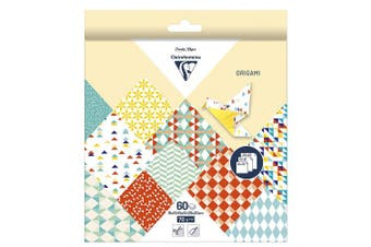 (15 x 15 cm, Kaleido) - Clairefontaine Origami Paper, 70 gsm, 3 Sizes, Kaleido, 60 sheets