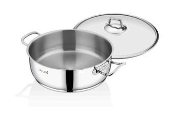 (Stainless Steel, 3.8l Saute Pot) - Saflon Stainless Steel Tri-Ply Capsulated Bottom 3.8l Saute Pot with Glass Lid, Induction Ready, Oven and Dishwasher Safe