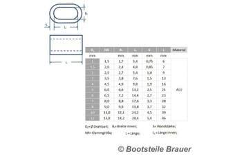 10 Aluminium Press Clamp DS) 1 x 6 mm – Alu Clamp Press Ferrule DIN 3093 Wire Rope Clip