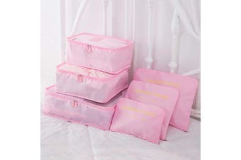 (Pink) - 9Pcs Magik Waterproof Clothes Storage Bags Packing Cube Travel Luggage Organiser Pouch (Pink)