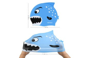 (Blue Shark-3-5yrs) - COPOZZ Kids/Adult Swim Caps, Silicone Waterproof Comfy Bathing Cap Swimming Hat for Long and Short Hair