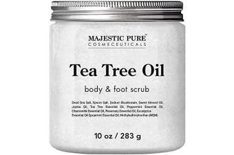 MAJESTIC PURE Tea Tree Body and Foot Scrub - Exfoliating and Cleansing Scrub Fights Fungus and Helps Against Acne, Warts and Jock Itch - Soothes Itching and Promotes Healthy Feet - 300ml