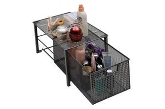 (Large) - Amtido Mesh Cabinet Basket Organisers - Metal Storage Drawer - Sliding Rack with Dividers for Spice, Shower, Pantry Supplies - Kitchen, Bathroom, Undersink, Garage Shelving - Silver (Large)