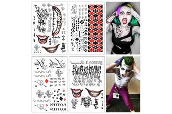 (Hq & Ss Tattoo Kit) - COKOHAPPY 4 Large Sheets SS Temporary Tattoo HQ & The Joker Sticker 80+ Tats Costume/Cosplay Party Accessories