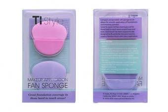 Beauty Sponge Makeup Blender for Cosmetics - Fan Shape Powder, Concealer, Foundation Applicator with Handle - Latex Free & Hypoallergenic Make Up Sponge (Baby Pink & Lavender)