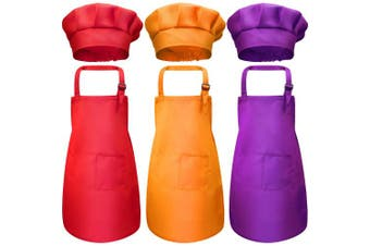 (Small, Color 4) - Chengu 6 Pieces Kids Chef Hat Apron Set, Boys Girls Aprons for Kids Adjustable Cotton Aprons Kitchen Bib Aprons with 2 Pockets for Kitchen Cooking Baking Wear (Small, Colour 4)