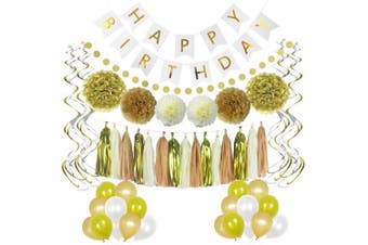 (Chic White and Gold Party Supplies) - LITAUS Birthday Decorations, Chic White and Gold Party Supplies, Serves 58, Includes Happy Birthday Banner, Party Balloons, Hanging Swirls, Garland, Tassels, Paper Flowers for Parties, Baby Shower