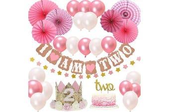 """(Pink-2) - 2st BIRTHDAY Girl DECORATIONS/Pink Theme Kit Set-2st Birthday Party Hat Princess Tiara Crown,Cake Topper-""""Two"""", """"I Am Two""""and""""Stars""""Banner,Fiesta Pink Hanging Paper Fan Flower,Pink and white balloons"""