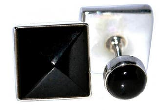 Solid 925 Sterling SILVER BLACK Onyx Cufflinks, Double sided Cuffs, Boxed Mens Gents Gifts