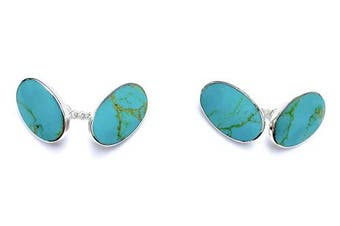 925 Sterling Silver Blue Turquoise Stone Classic Chain Link Oval Shape Cufflinks, Cuff Links