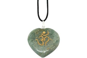 (Green Aventurine) - Artisan Crafted Om Engraved Heart Pendants - Genuine Natural Stone Handmade Necklace Ethically Sourced Jewellery From India Sent In Retail Gift Box