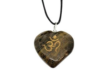 (Tiger Eye) - Artisan Crafted Om Engraved Heart Pendants - Genuine Natural Stone Handmade Necklace Ethically Sourced Jewellery From India Sent In Retail Gift Box