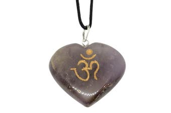 (Amethyst) - Artisan Crafted Om Engraved Heart Pendants - Genuine Natural Stone Handmade Necklace Ethically Sourced Jewellery From India Sent In Retail Gift Box