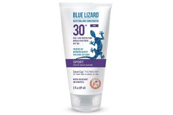 (90ml) - Blue Lizard Australian Sunscreen - Sport Sunscreen, SPF 30+ Broad Spectrum UVA/UVB Protection - 90ml Tube