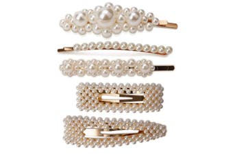 AIEX 2 Pearl Hair Clips and 3 Pearl Hair Pins for Girls Women Ladies White Artificial Pearl Hairpins Gold Hair Barrettes Set for Wedding and Any Special Occasion