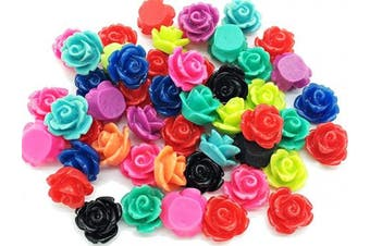 (10mm, mixed) - (This Rose Flat Back is not a Bead) 50pcs 10mm Tiny Resin Roses Flower FlatBacks Cabochons Decoration Flat Back F1221