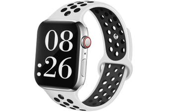 (44mm/42mm M/L, Platinum black) - EXCHAR Sport Band Compatible with Apple Watch Band 38mm 42mm 40mm 44mm Breathable Soft Silicone Replacement Wristband Women and Man for iWatch Series 4 3 2 1 Nike+ All Various Styles
