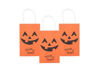 (Orange Bags) - MISS FANTASY Halloween Trick or Treat Bags Pumpkin Candy Bags Jack O Lantern Loot Bags Halloween Costume Party Goodie Bags for Kids Pack of 12 (Orange Pumpkins)