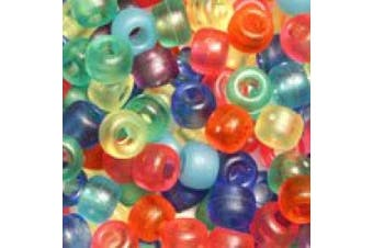 (Frost Mix (Matte)) - Frost Matte Multicolor Mix Plastic Craft Pony Beads, 6 x 9mm, 500 Beads
