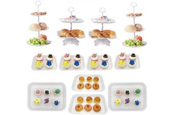 (C - White 12pcs) - Plastic Dessert Stand Set of 12 Pieces Includes 3 Tier 2 Tiers Square/Round Cupcake Holder Plate Serving Tray for Wedding Birthday Party Fruits Desserts Candy Bar Display White