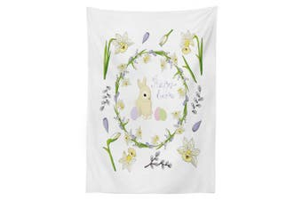 (150cm  W By 230cm  L, Multi 19) - Ambesonne Easter Bunny Tablecloth, Romantic Tones Innocent Holiday Arrangement, Dining Room Kitchen Rectangular Table Cover, 60 W X 90 L Inches, Apple Green Lavender Blue Baby Pink and Cream
