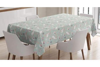(150cm  W By 230cm  L, Multi 18) - Ambesonne Easter Tablecloth, White Rabbits Smelling The Fresh Spring Air Flowers Eggs and Hearts in Pastel Colours, Dining Room Kitchen Rectangular Table Cover, 60 W X 90 L Inches, Multicolor