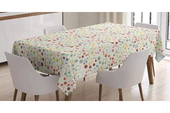(150cm  W By 230cm  L, Multi 7) - Ambesonne Abstract Tablecloth, Traditional Polka Dots with Colourful Summer Vibes Retro Look Vibrant Swirl Designs, Dining Room Kitchen Rectangular Table Cover, 60 W X 90 L Inches, Multicolor