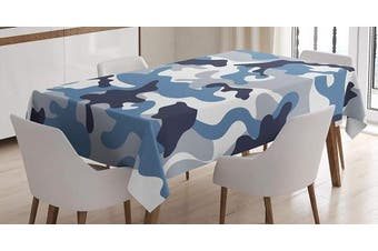 (130cm  W By 180cm  L, Multi 15) - Ambesonne Camouflage Tablecloth, Illustration with Abstract Soft Colours Pattern Camouflage Design, Dining Room Kitchen Rectangular Table Cover, 52 W X 70 L Inches, Slate Blue Indigo Grey