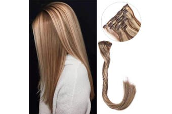 (50cm , #4/27) - Clip in Real Human Hair Extensions Clip on Remy Hair Extensions for Women Balayage Medium Brown with Strawberry Blond Highlights Double Weft Full Head Silky Straight Natural 70g 7pcs 16 Clips 50cm