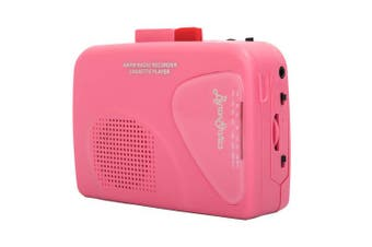 (Pink) - Byron Statics Walkman Cassette Player Portable Cassette Players Recorders Am FM Radio Lightweight Built-in Speaker USB Power Supply or 2 AA Batteries Automatic Stop System Protect Cassette Tape