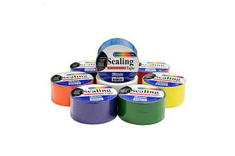 8 Coloured Sealing Tape Set - 4.8cm x 420cm Feet/Roll - Including Black, White, Orange, Green, Purple, Red and Blue Roll of Tape - for Crafts, Packing and More