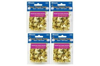 4 Pk, BAZIC Brass Thumb Tack 200 Per Pack(2030cm Total)