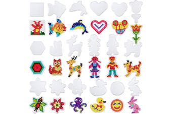Chuangdi 18 Pieces 5 mm Fuse Beads Boards Clear Plastic Pegboards with 18 Pieces Colourful Cards for Kids Craft Supplies