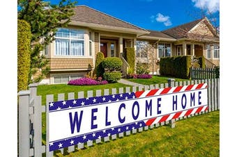 (Wch) - Colormoon Large Welcome Home Banner Military Army Theme Bunting Banner Homecoming Deployment Return Party Sign Outdoor Indoor (3m x 0.5m)