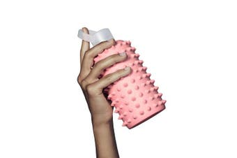 (470ml, elle spiked) - bkr Glass Water Bottle with Spiked Silicone Sleeve for Travel, Narrow Mouth, BPA-Free & Dishwasher Safe